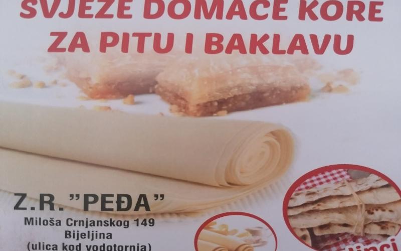 """ZR""""PEDJA""""  -  DOMACE KORE ZA PITU I BAKLAVU"""