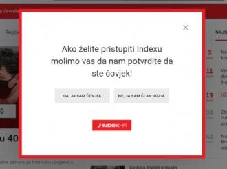 Upit na portalu Index: Potvrdite da ste čovjek: Da, ja sam čovjek - Ne, ja sam član HDZ-a