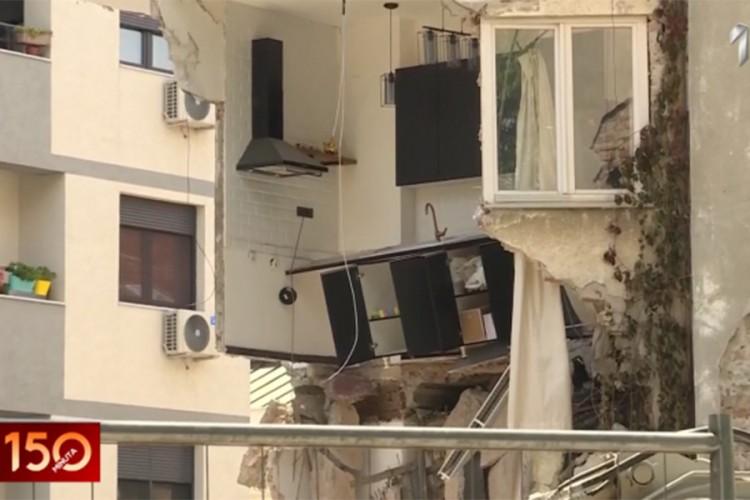 Dramatični prizori na Vračaru: Zgrada se i dalje urušava, kuhinja visi